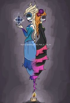 A Walk In The Art — Sugar skulls of Anna and Elsa from Disney's...