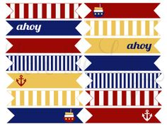 PRINTABLE PARTY FLAGS  Nautical Birthday Party by lovetheday, $3.00