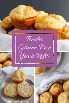 This gluten free yeast roll recipe is ready in under an hour! Soft incredibly tasty rolls without the wait time. They're baked in a muffin tin so theyll bake evenly and be on your table in about 20 minutes. Gluten Free Yeast Rolls, Quick Yeast Rolls, Gluten Free Buns, Gluten Free Biscuits, Gluten Free Treats, Gluten Free Flour, Gluten Free Baking, Gluten Free Recipes, Gf Recipes