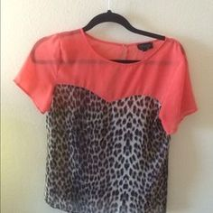 Topshop Tops - Coral and leopard print top from top shop