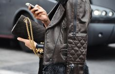 Hermes cuff. Chanel leather jacket, and 2.55 bag.