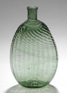 Pitkin-type flask, 1783-1830. Mold-blown green glass. Courtesy Philadelphia Museum of Art