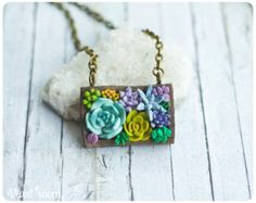 Polymer clay jewelry succulent pendant original by sofoxyclay