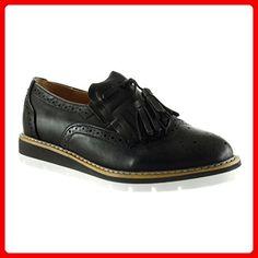 Angkorly Damen Schuhe Derby-Schuh Mokassin - Slip-On - Fransen - Bommel - Perforiert Keilabsatz 3 cm - Schwarz F1556 T 38 VXNzJ4dNvU