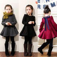 2016 Meninas Vestido de Inverno Engrosse Quente Meninas Vestido de Algodão Crianças Vestido Bonito Estilo Material Confortável com Grande Arco(China (Mainland))