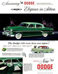 1954 AD Dodge Royal V8 cars-green sedan ORIGINAL ADVERTISING