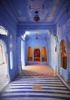 Beautiful colors and architectural-detial inside the Mehrangarh Fort in Jodhpur, Rajasthan, India lots of lovely blue
