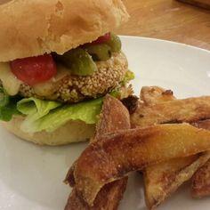 Tofu & carrot sesame burgers with smoked cheddar, brioche & polenta chips  https://thegreenroomrecipes.wordpress.com/2015/01/16/tofu-carrot-sesame-burgers-with-smoked-cheddar-in-a-brioche-bun-with-chips/