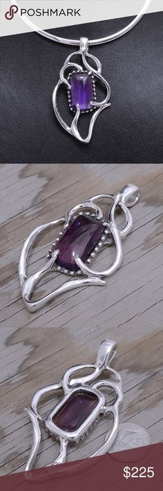 """Sterling Silver Amethyst Pendant (pendant only) Pendant Stamped """"950"""". Higher Sterling Finesse. Stone has natural inclusions and cracks.  Sterling silver is an alloy of silver containing 92.5% by mass of silver and 7.5% by mass of other mThe sterling silver standard has a minimum millesimal fineness of 925.   All my jewelry is solid sterling silver. I do not plate.   Hand crafted in Taxco, Mexico.  Will ship within 2 days Jewelry Necklaces"""