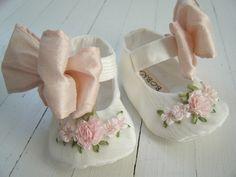 Mary Jane Shoes, Baby Girl Shoes, Antique White Vintage Taffeta, Pink SIlk Bow,Toddler Shoes, Flats, 'Katia' , Bobka Shoes by Bobka Baby. $53.00, via Etsy.