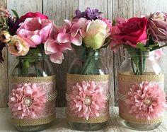 10x Rustic Burlap And Lace Covered Mason Jar Vases Wedding Decoration Bridal Shower Engagement Anniversary Party Decor