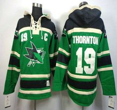 e9e0d5392ff NHL San Jose Sharks Jersey #19 Joe Thornton With C Patch Green Hoody Hockey  Games