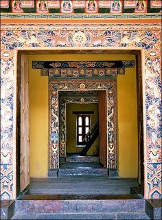 Entrance to the Punakha Dzong. The Punakha Dzong is the second oldest and second largest dzong in Bhutan and one of its most majestic structures. (V)