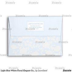 Shop Light Blue White Floral Elegant Custom Address Envelope created by LeonOziel. Thank You Notes, Thank You Cards, Custom Printed Envelopes, Envelope Sizes, Addressing Envelopes, Colorful Backgrounds, Light Blue, Stationery, Greeting Cards