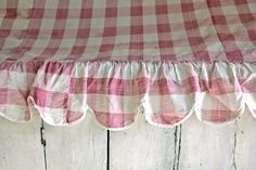 faded pink checked valance