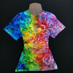 Size Small Rainbow Splatter Ice Dye T-Shirt Tie Dye Shirts, Cut Shirts, Dye T Shirt, Cloud 9, Tie Dye Bedding, Spiral Tie Dye, Tie Dye Outfits, Ice Dyeing, Tie Dye Patterns