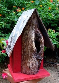 Barn Red Exterior | Log Front & Tin Barn Wood Birdhouse Red