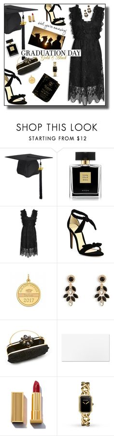 """Golden Grad"" by nineseventyseven ❤ liked on Polyvore featuring Avon, Alexandre Birman, Vera Bradley, Oscar de la Renta, Chanel, Graduation, blackdress and celebration"