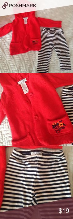 Little red hooded Guess sweater & leggings Adorable set black and white stripes leggings and a cute knitted hooded sweater jacket. Sweater also goes great with denim. Used and in great condition Guess Matching Sets