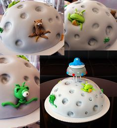 Inspiration for alien cake Inspiration for alien cake. Fondant Cakes, Cupcake Cakes, Alien Cake, Rocket Cake, Galaxy Cake, Homemade Cake Recipes, Cake Pictures, Happy Birthday Cakes, Novelty Cakes