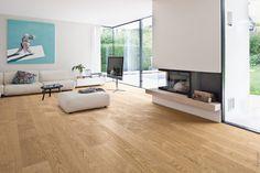Unser Parkettboden Eiche weiß Markant im Trendformat Landhausdiele Plaza öffnet den Raum auf beeindruckende Weise.
