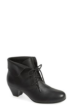 Free shipping and returns on David Tate 'Angelica' Lace-Up Bootie (Women) at Nordstrom.com. A trendy stacked heel lifts a lace-up leather bootie styled with a fold-over cuff and cushioned by a plush foam insole.