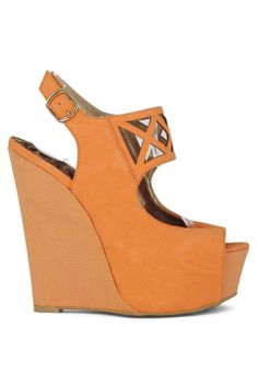Qupid Jasper Wedge Sandal in Orange - Beyond the Rack