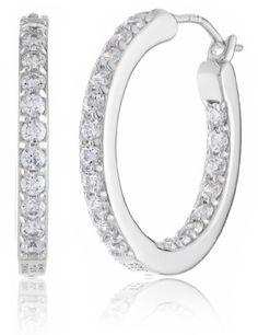 """Myia Passiello """"Timeless"""" Swarovski Zirconia Clear Hoop Earrings, 0.75"""". Myia Passiello White Hoop Sterling Silver Earrings made with Swarovski Zirconia^Crafted in .925 Sterling Silver, Platinum plated earring with earwire^International brand with exclusive fine jewelry designs appeal and meticulous craftsmanship^Made with Swarovski Zirconia, the best simulated diamond in the world^Imported."""
