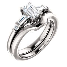 0.75 Ct Emerald #Diamond #Engagement #Ring 14k White Gold
