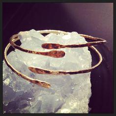 Hammered Bronze Open Cuff Bangle - Upper Arm Bracelet