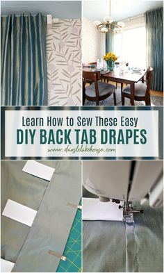 Looking for modern curtain ideas? Learn how to make your own DIY back tab drapes! Sewing these professional looking DIY curtains is super easy! DIY curtains from fabric can be simple but still look high end. Make drapes for bedroom decor, drapes for living room, even drapes for sliding glass doors. Custom make any drapes curtains you need for your space and save hundreds by doing it yourself! Click through to learn how to sew curtains. #diysewing #diycurtains #diydrapes #drapes #diyhomedecor Dining Room Light Fixtures, Dining Room Walls, Living Room, No Sew Curtains, Curtain Lining Fabric, Cool Diy Projects, Home Projects, Project Ideas, Craft Ideas