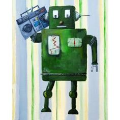 Donka Loves Music Canvas Art now featured on Fab. Music Canvas, Music Wall Art, Canvas Art, Canvas Prints, Robot Art, Robots, Music Paper, 80s Music, Nursery Design