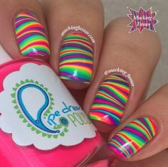 Beautiful nails 2020 Bright summer nails Cheerful nails Colorful nails Fashion nails 2020 Manicure by summer dress Rainbow nails Shellac nails 2020 Fancy Nails, Diy Nails, Cute Nails, Pretty Nails, Nail Art Stripes, Striped Nails, Zebra Stripe Nails, Water Marble Nail Art, Nails Polish