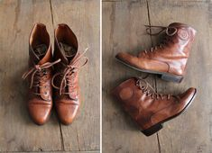 brown leather boots / lace up boots / ankle boots by allencompany, $98.00
