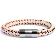 Pair up your style with this striking Spain braided leather flag bracelet that surely highlights your Team Spain spirit. Accessorize your daily wear or formal outfit with this timeless bracelet. Braided Bracelets, Silver Bracelets, Bracelets For Men, Leather Bracelets, Silver Rings, Gents Bracelet, Black Tie Party, Braided Leather, Bracelet Making