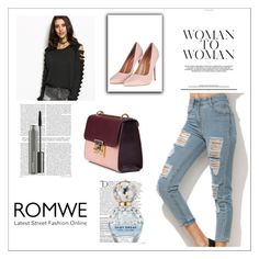 """romwe5"" by gold-phoenix ❤ liked on Polyvore featuring Topshop, Balmain, Marc Jacobs and MAC Cosmetics"