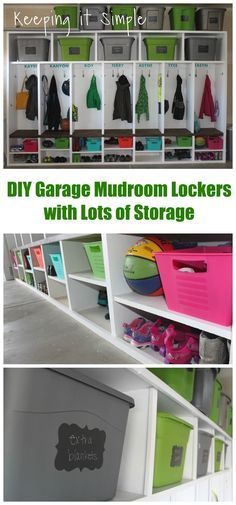 DIY Garage Mudroom Lockers with lots of storage for totes and containers