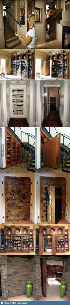 Hidden Passageways In House! Secret Hidden Passageways In Houses! Gotta have one of these!Secret Hidden Passageways In Houses! Gotta have one of these! Future House, Hidden Passageways, Hidden Spaces, Hidden Rooms In Houses, Safe Room, Hiding Places, My Dream Home, Home Projects, Sweet Home