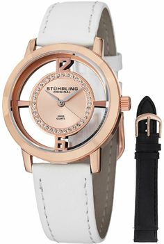 Stuhrling Original Women's 388L2.SET.03 Winchester Tiara 16k Rose Gold-Plated Stainless Steel and Swarovski Crystal Watch with Additional Le...
