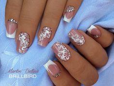 15 Wedding Nail Art Designs For Brides – My hair and beauty Cute Nail Art, Beautiful Nail Art, Cute Nails, Posh Nails, Pink Glitter Nails, Nailed It, Bridal Nail Art, Short Nails Art, Wedding Nails Design