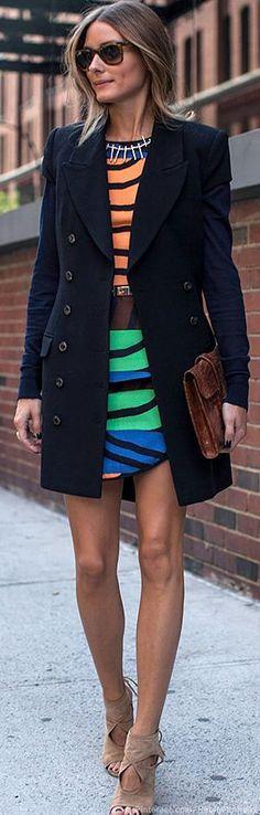 Shirt and skirt – Tibi  Shoes – Aquazzura  Belt – BCBG  Sweater – Kooples  Purse – Hermes  Sunglasses – Ray Ban  Coat – Rachel Zoe