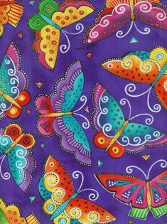 Items similar to LAUREL BURCH BUTTERFLY FABRIC - FLYING COLORS ON ROYAL - RETIRED on Etsy