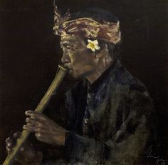 Leslie Goh, The Flautist - Sanur, Bali, Indonesia, Oil on Canvas 2008