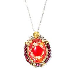 126-015 - Gems en Vogue II Hand Carved 13.86ctw Carved Amber, Ruby & Garnet Pendant