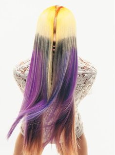 Purple and yellow hair color