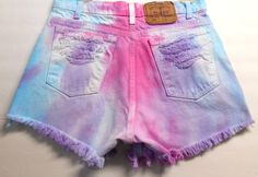 Designer Clothes, Shoes & Bags for Women Vintage Levi Shorts, Vintage Levis, Diy Tie Dye Shorts, Cute Shorts, Denim Shorts, Crop Tops For Kids, Distressed High Waisted Shorts, Studded Shorts, Tie Dyed