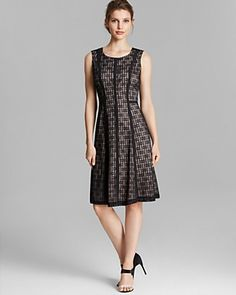 Anne Klein Dress - Sleeveless Ladder Lace Fit and Flare