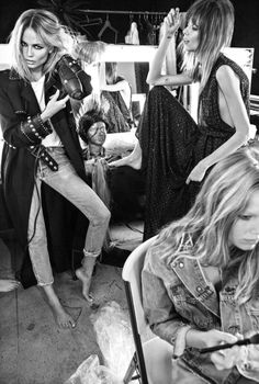 """Backstage"" Natasha Poly, Anna Ewers, Lexi Boling, Rianne van Rompaey, Maria Borges, Lineisy Montero, Alisa Ahmann by Inez van Lamsweerde and Vinoodh Matadin for Vogue Paris June/July 2016"