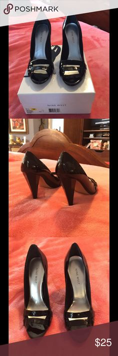 """Nine West shoes These are beautiful black patent dressy hexagon 4"""" heels with open double strap toes. Only worn once. Now disabled and must sell my beautiful heels. Size 5.5, can't remember original cost but not cheap! Nine West Shoes Heels"""