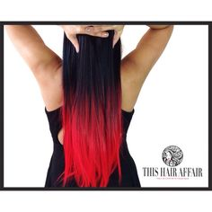"""HOLIDAY SALE Dip Dyed Hair Extensions - Ombre Hair Extensions - 22""""... ($37) ❤ liked on Polyvore featuring beauty products, haircare, hair styling tools, hair, beauty, hairstyles, hair styles, red, styling iron and straight iron"""